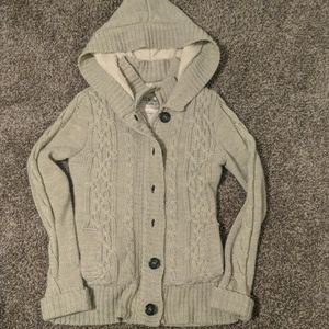 Cable knit zip & button up lined sweater with hood
